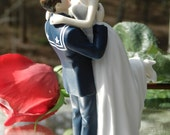 military USN Navy Sailor  Wedding Cake Topper  sexy pose Bride uniform Kiss Lift