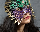 Totem leather mask in Mardi Gras colors