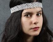 Celtic knot head wreath in white