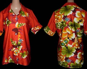 Vintage 60s Red Hawaiian Floral Shirt Women S