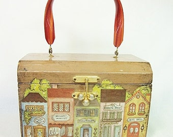 vintage wood box purse beverly hills decoupage