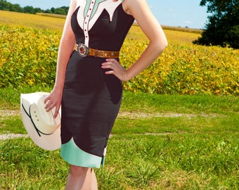 SALE - The Dale Dress - ANY COLOR - Western Rodeo Cowgirl Pinup Dress Nashville Country Queen