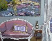 Paris Print, Painting of Interior, French Settee, Giverny, Paris Art, Monet, Dreams of Paris Fine Art Print