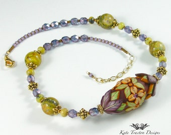 Polymer Clay Floral Bead Necklace, Chocolate Brown, Purple, Green