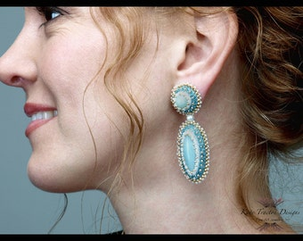 SALE - Seafoam Green Bead Embroidered Earrings, Bead Embroidery