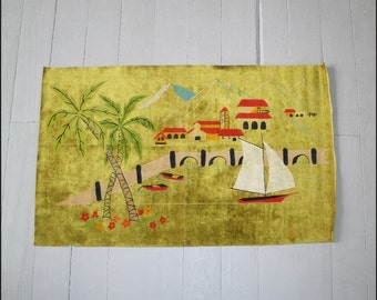 Vintage 1960s Hand Painted Exotic Village Print on Velveteen