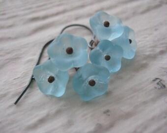 Blue Bell Flower Earrings, Vintage Beads, Oxidized Sterling Silver