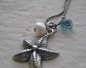 Starfish Necklace - Sterling Silver Oxidized, Apatite, Freshwater Pearl