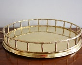 Vintage faux bamboo brass serving tray, Hollywood Regency
