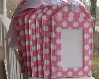 Luggage Tags/ Light Pink With White Dots