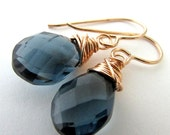London Blue Tone Earrings | Faceted Quartz Rose Pink Bronze Wire Earrings | Wire Wrapped Earrings by E. Ria Designs
