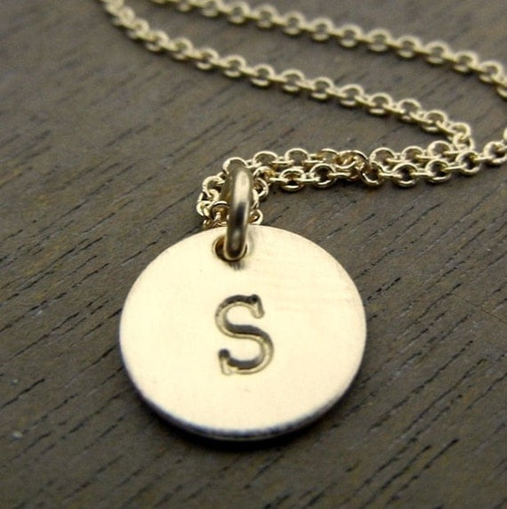 Little initial necklace gold letter charm personalized for Custom letter necklace gold