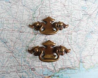 SALE! 2 vintage distressed brass metal pull handles