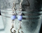 Moon and star earrings with light sapphire and swarovski crystals
