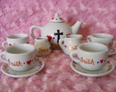 Faith, Hope and Love, hand painted children's tea set