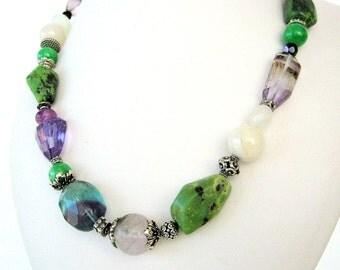 Necklace- Australian Jade -Flourite- Amethysts - Sterling silver