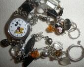 free ship, vintage Mickey Mouse,' One of a Kind' unique, watch bracelet, Hugh SS Clasp, Garnets,VIctorian Button,Cloisonne,Black ONYX,PYRITE
