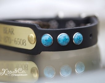 Personalized Pet Collar, Pet Accessories, Leather Turquoise Dog Collar, Black Leather Collar