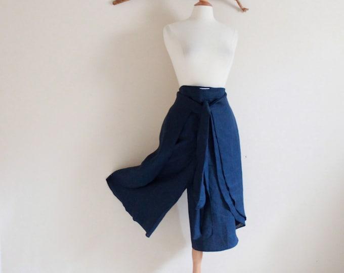 capri length linen butterfly wrap pants  petitle to plus size / provide your height / linen wrap capri pants / casual pants /