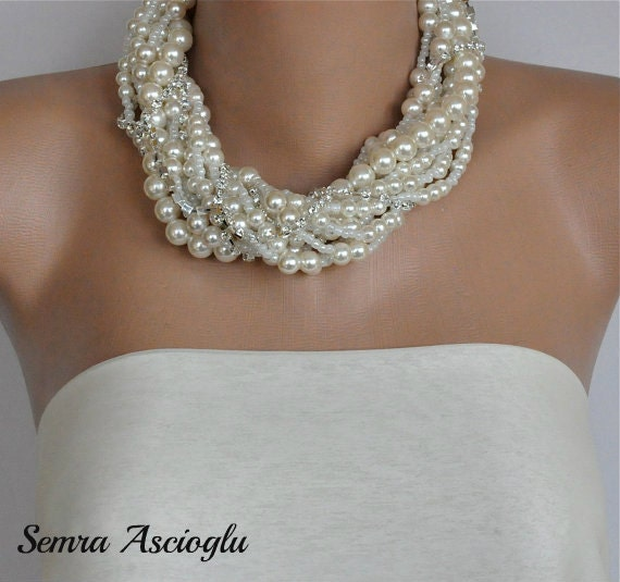 Chunky Statement Pearl Necklace,  Chunky Ivory Twisted  Bridal   Necklace Bridesmaids gifts