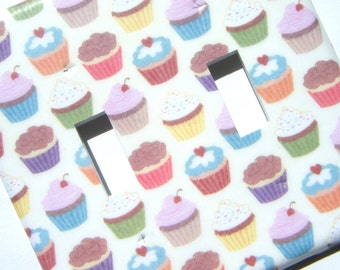 Double Light Switch Cover Switchplate -- Cupcakes