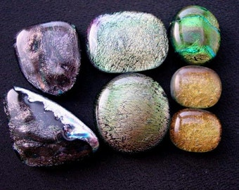 SALE. Handmade Dichroic Glass Cabochon set. Jewelry Supply. Fall Colors. Earthy Browns Topaz Green. Set-32