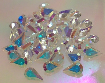 6 UnFoiled 10x6mm Crystal AB Pear Swarovski Pears TTC Unfoiled Crystal ab Unfoiled 10x6mm Unfoiled Teardrop Unfoiled Crystal AB 6x10mm