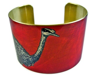 OSTRICH cuff bracelet brass or aluminum Free Shipping to USA Gifts for her