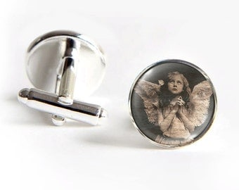 ANGEL Girl Cufflinks silver 18mm cuff links Gifts for him