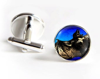 Bat Cufflinks silver 18mm Gifts for him