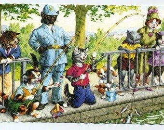Mainzer Cats Postcard - Fishing As Policeman Watches