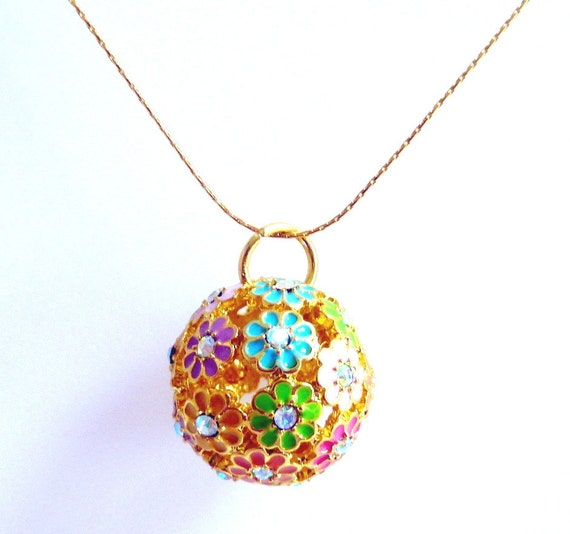 Flower Ball Pendant Necklace, Aqua Pink Purple Yellow Green Gold Floral Pendant Necklace, Spring Summer Fun, Flower Power, Mother's Day
