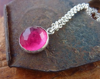 Pink tourmaline necklace, birthstone necklace, round tourmaline cabochon pendant hang from sterling silver chain