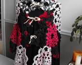 Licorice Twist Needle Tatted Lace Patchwork Ooak Shawl Wrap made with luxurious and natural handspun yarns Reiki Infused