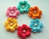 Crochet Flowers Pastels x 6