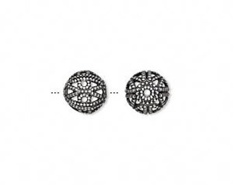 10 Antiqued Filigree Silver-plated Beads, 8mm round.
