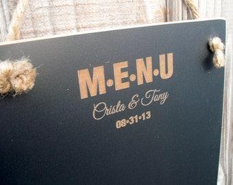Chalkboard  - Hanging Personalized Wedding Menu Blackboard -  Item H1505