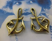 Antique Gold Pewter Large Anchor Charms 2058GOL x2