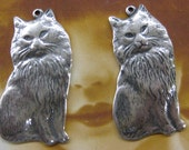 Sterling Silver Ox Plated Brass Persian Cat Charms 657SOX x2