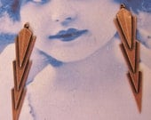 Copper Ox Plated Brass Art Deco Brass Dangle Drop Stampings 492COP  x2