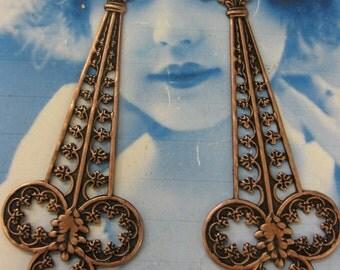Copper Ox Plated Brass Art Nouveau Filigree Dangles 2222COP x2