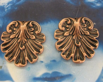 Copper Ox Plated Brass Shell Stampings 2237COP  x2