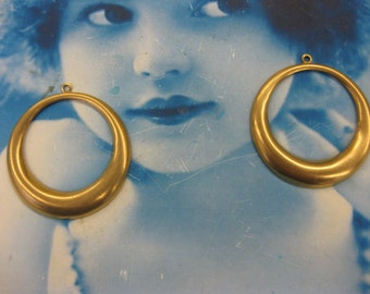 Natural Raw Brass Large Hoops 2254RAW  x2