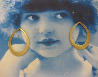 Natural Raw Brass Oval Hoops 42RAW x2