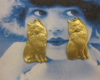 Natural Raw Brass Cat Charms 657RAW  x2