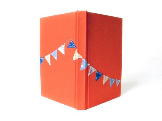 Unique Sketchbook - Handmade - Stitched Pennant Bunting - Orange Sketchbook - Gift for Artist