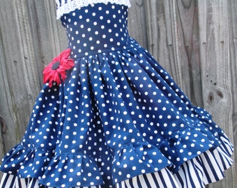 Made to Order Custom Boutique Navy Dot Stripe Sundress Girl Dress  2 3 4 5 6 7 8