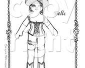 Belle of the Wild West Paper Doll to print, color and cut