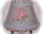 NEW French Inspired Cottage Chic Style Pink Shabby Roses NIGHT LIGHT White Rolled Roses Teardrop Pearls