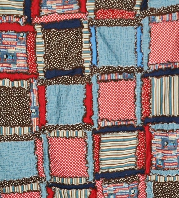 Rag Quilt Train Toddler Bed Blanket Ready To By Avisiontoremember
